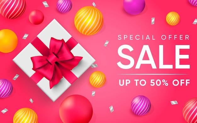Cartel 3d de oferta especial venta ilustración de publicidad.