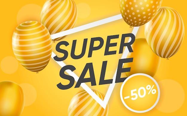 Cartel 3d de super venta ilustración de publicidad.