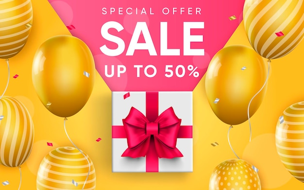 Cartel 3d de venta hasta 50 por ciento ilustración de diseño realista de publicidad