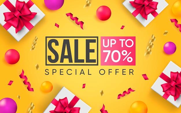 Cartel 3d de venta hasta 70 por ciento ilustración de diseño realista de publicidad