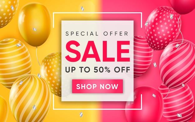 Cartel 3d de venta al 50 por ciento de la ilustración de publicidad