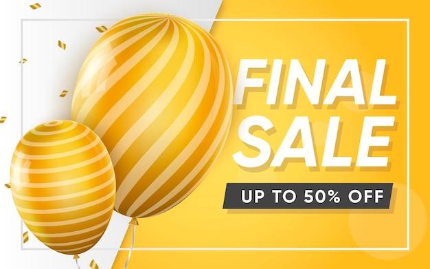 Cartel 3d de venta final hasta 50 ilustración de publicidad.
