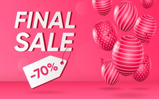 Cartel 3d de venta final ilustración de diseño realista de publicidad.