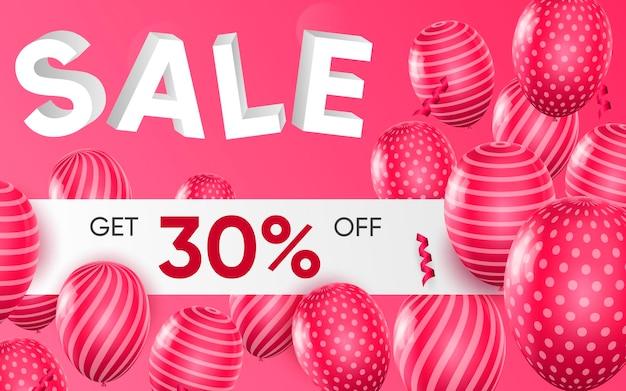 Cartel 3d de venta ilustración de diseño realista de publicidad.