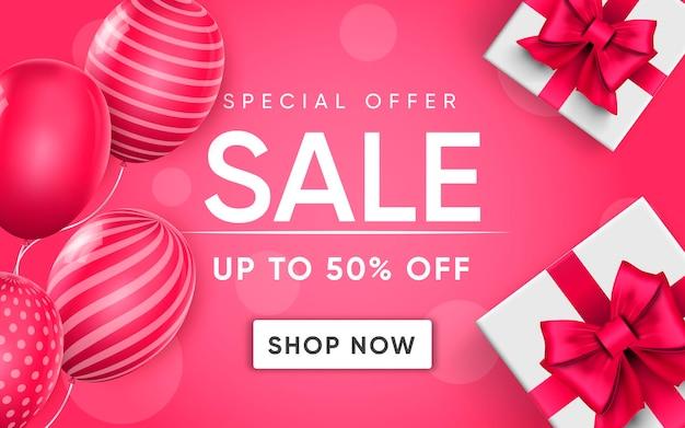 Cartel 3d de venta a precios de descuento del 50 por ciento en ilustración de diseño realista de publicidad