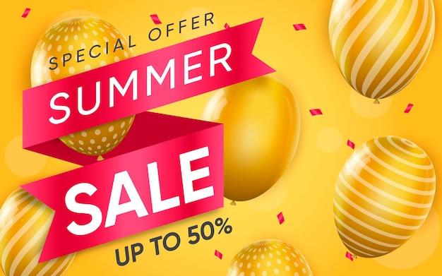 Cartel 3d de venta de verano ilustración de publicidad.