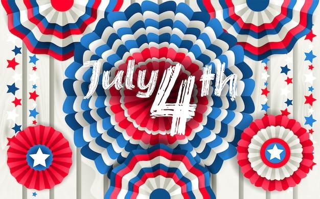 Cartel del 4 de julio con abanicos de papel colgando.