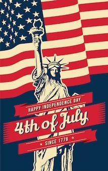 Cartel del 4 de julio con elementos americanos.