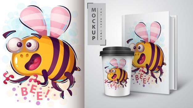 Cartel de abeja de dibujos animados y merchandising
