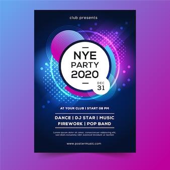 Cartel abstracto de año nuevo 2020 de puntos y burbujas