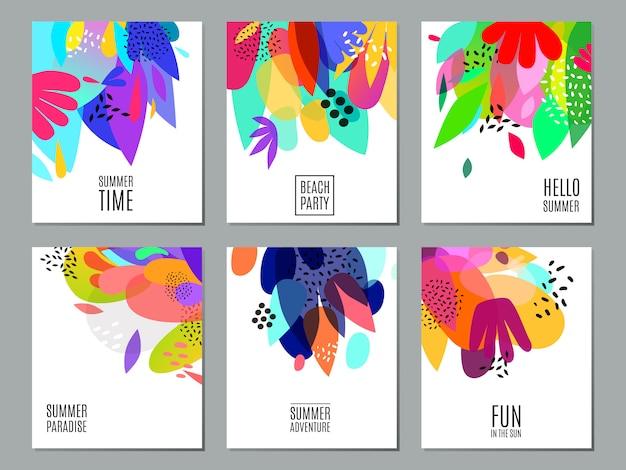 Cartel abstracto de la colección de las banderas del anuncio del verano