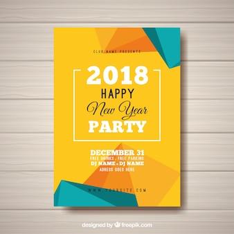 Cartel abstracto de fiesta de año nuevo en amarillo y turquesa