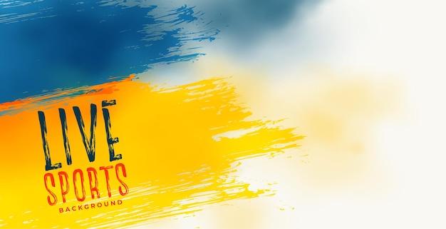 Cartel abstracto deportivo en colores azul y amarillo.