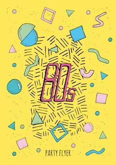 Cartel abstracto estilo memphis de los años 80 con objetos de formas geométricas. folleto de moda colorida fiesta.