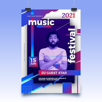 Cartel abstracto del evento deportivo para 2021 con foto