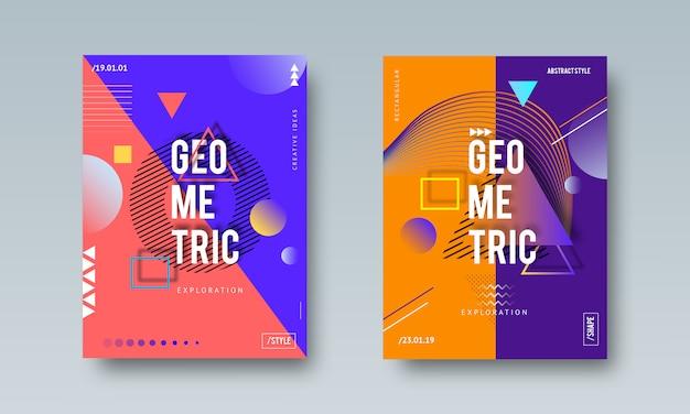 Cartel abstracto geométrico de memphis