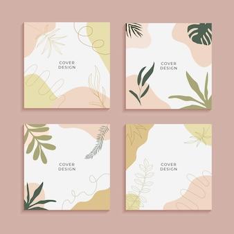 Cartel abstracto de hojas tropicales para historias de redes sociales. fondo abstracto. papel tapiz de hojas abstractas