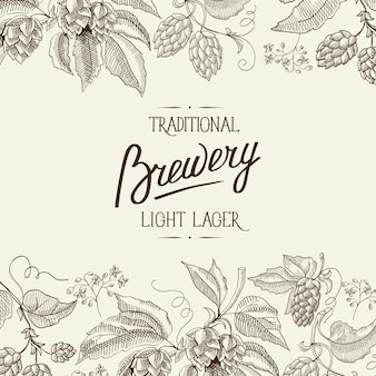 Cartel abstracto de luz botánica natural con inscripción caligráfica y plantas de hierbas de lúpulo de cerveza en estilo vintage
