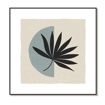 Cartel abstracto de moda minimalista con hoja de palma