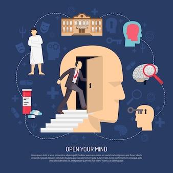 Cartel abstracto moderno del psicólogo