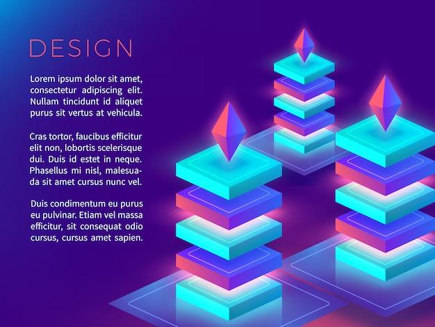 Cartel abstracto o diseño con formas coloridas en 3d