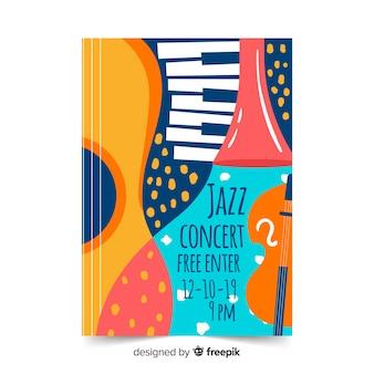 Cartel abstracto de plantilla jazz dibujado a mano