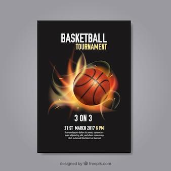 Cartel abstracto de torneo de baloncesto