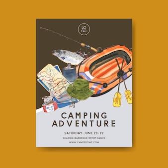 Cartel para acampar con ilustraciones de caña, pez, bote, mapa y sombrero