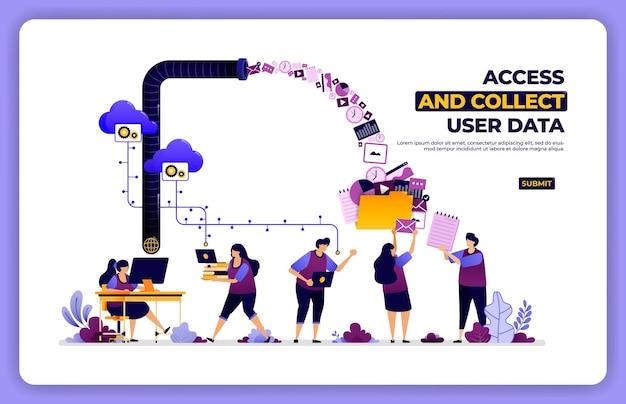 Cartel de acceso y recogida de datos del usuario. administrar la actividad de la experiencia del usuario.