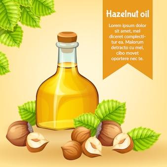 Cartel de aceite de avellana, semillas y hojas de avellana.