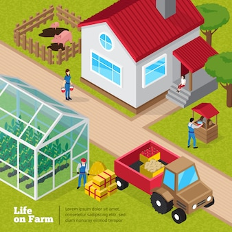 Cartel de actividades diarias de la vida de la granja con instalaciones de corral, plantas de invernadero y trabajadores de tractores de descarga.
