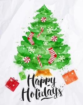 Cartel de acuarela árbol de navidad