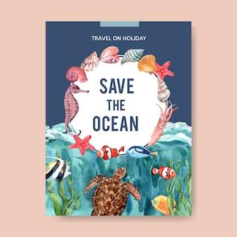 Cartel con acuarela tema-sealife, plantilla de ilustración colorida creativa.