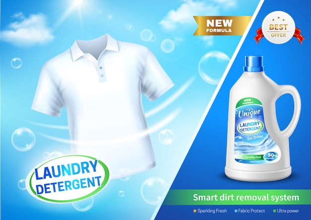 Cartel de ad de detergente de lavandería realista
