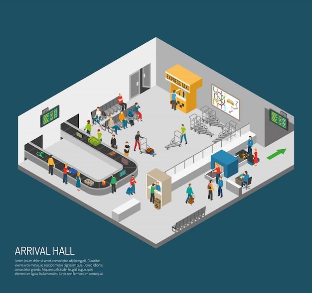 Cartel del aeropuerto de hall de llegada