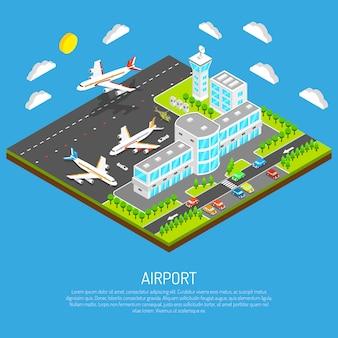Cartel del aeropuerto isométrico