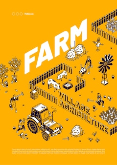 Cartel de agricultura de la aldea de la granja