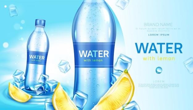 Cartel de agua mineral con limón en botella