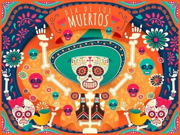 Cartel alegre del día de los muertos, esqueleto colorido y calaveras bailando alegremente en tono naranja y turquesa en estilo plano, nombre de la fiesta en español