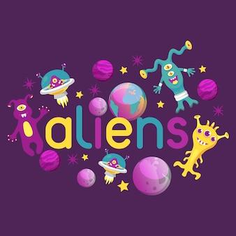 Cartel alienígena monstruo, ilustración de banner. monstruoso personaje de dibujos animados, linda criatura alienada o divertido gremlin. nave espacial en el cosmos entre estrellas.