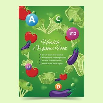 Cartel de alimentos para alimentos orgánicos saludables