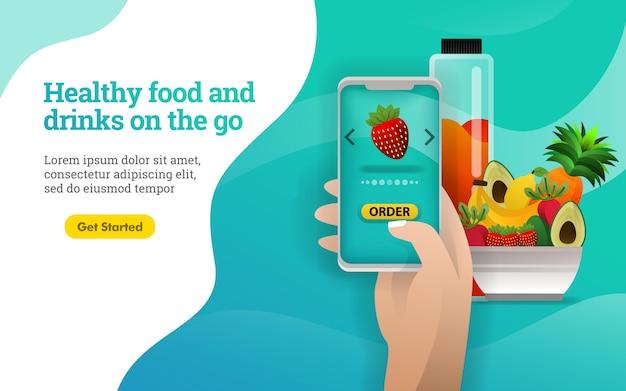 Cartel de alimentos y bebidas saludables para llevar.