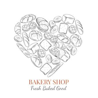 Cartel de alimentos productos de pan