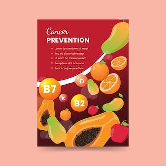Cartel de alimentos saludables para la prevención del cáncer.