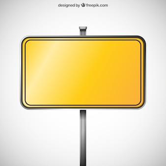 Cartel amarillo en blanco