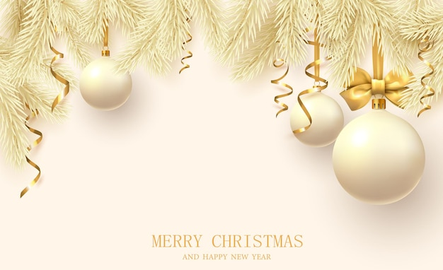 Cartel amarillo de feliz navidad y próspero año nuevo 2022 con ramas de abeto, bolas de navidad y confeti