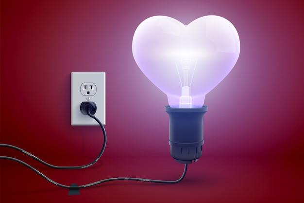 Cartel de amor brillante y amistoso con un brillo realista enchufado en una bombilla eléctrica en forma de corazón