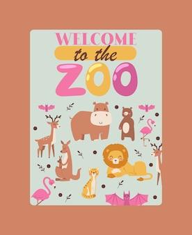 Cartel de animales de zoológico