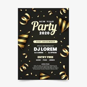Cartel de año nuevo 2020 de cintas doradas