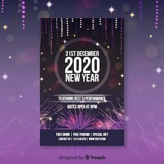 Cartel de año nuevo 2020 con fuegos artificiales